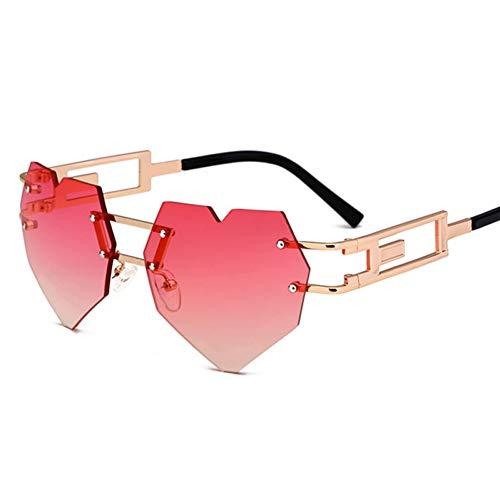 SYQA Weinlese-Herz-geformte Sonnenbrille-Frauen-Sonnenbrille-Retro Goldrosa-Steigungs-Schatten,C1