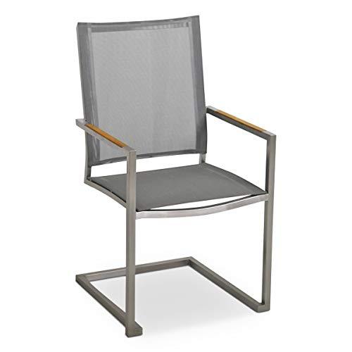 MONBEA Venus Freischwinger Stuhl Gestell Edelstahl hochwertiger Gartenstuhl mit Batyline Bespannung Silber und Teak Holz Akzenten