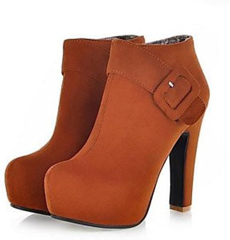 GLL&xuezi Mujer Tacones Confort PU Otoño Casual Negro Amarillo Rojo Azul 10 - 12 cms , blue , us5.5 / eu36 / uk3.5...