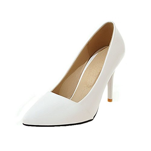 AgooLar Damen Ziehen auf High-Heels Schließen Zehe Rein Pumps Schuhe, Weiß, 35