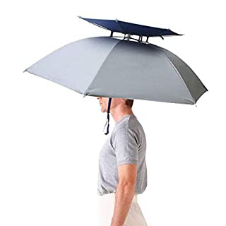 Aoneky Windproof Head Umbrella Hat –36'' Large Adults Folding Brolly Hat with Hands free Headband for Women & Man Golf, Fishing, Gardening, Photography, Walking - Fancy Dress Funny/Joke Gift