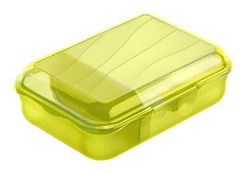 Rotho Fun Vesperdose mit herausnehmbarer Trennwand, Kunststoff (BPA -frei), lime grün , Gr. S / 0.9 Liter (17,7 x 12,9 x 6 cm)