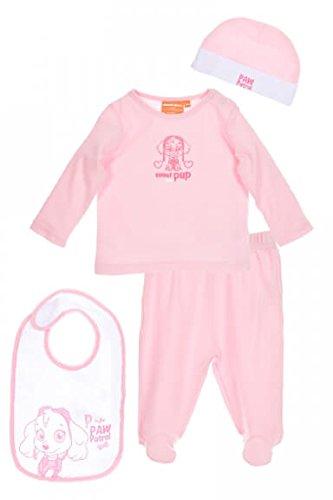 Nickelodeon-strampler (Nickelodeon Baby Set Shirt, Hose, Mütze, Latz weiß rosa | Motiv: Paw Patrol | Babyset 4 Teile für Neugeborene & Kleinkinder | Größe: Frühchen (44/50))
