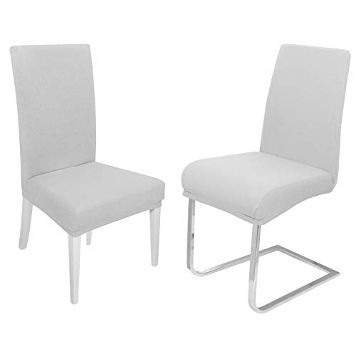 DecoHomeTextil Universal Stretch Uni Stuhlhusse Stuhlhussen Husse Hussen 6er Set Weiß Farbe und Set Größe wählbar Stuhlbezug...