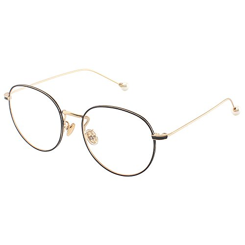 day spring online shop Fashion Round Clear Lens Spike Removeable Pearl Decorate Metal Glasses Frame Circle Eyeglasses - black gold