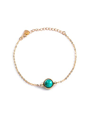Dalwa Damen 925 Silber Armband mit 14 Karat 585 Gold Überzogen mit Edelstein Türkisem Mosambik Amazonit - Charm Armkette im Maritimen Stil inkl. Geschenkverpackung