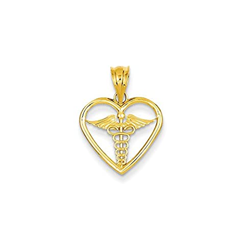 14k Caduceus Heart Medical Pendant
