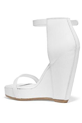 Kolnoo Damen Mode Sandalen Handgemachte Wölbungs Bügel Keil Ferse Partei  Hochzeit Sommer Schuhe White ...