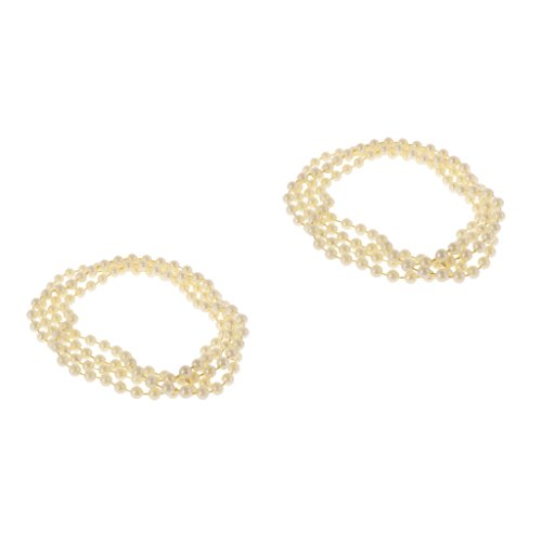 MagiDeal 2x Vintage 1920er Perlenkette Damen Gelb Kunststoff Perlen Halskette Modeschmuck (1920er Jahre Perlenkette)