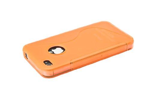 Flexible Silikon-Schutzhülle Bumper für Apple iPhone 4/4G/4GS hohe Qualität Stilvolle Made von E-port24® S-Line Pastellorange / Orange