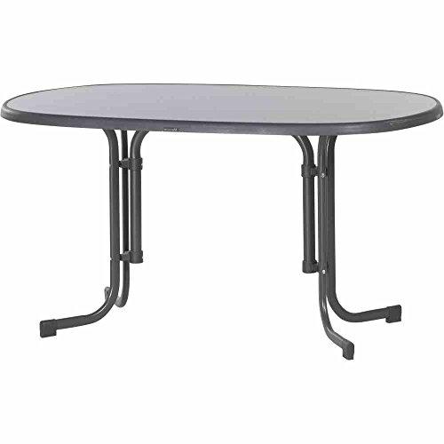 Ovale Platten (Sieger 252/G Boulevard-Klapptisch mit mecalit-Pro-Platte 140 x 90 cm, Stahlrohrgestell eisengrau, Tischplatte Schieferdekor anthrazit)