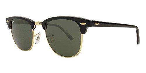 Ray-Ban unisex-adult RB3016 Clubmaster Sonnenbrille w/Grau Grün Objektiv W0365 RB 3016 Schwarzes Gold groß