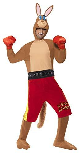 Kostüm Känguru Herren - Känguru-Boxer-Kostüm Jumpsuit mit Shorts und Schwanz Handschuhe und Kopfteil, Medium