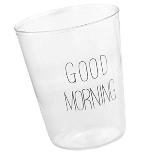 MagiDeal Wasser Gläser, 'GOOD MORNING', Trinkgläser, Saftbecher - Schwarz, 8.8cm