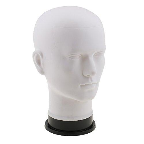 MagiDeal Weiß Männlich Mannequin Kopf Schaufensterpuppe Kopf Dekokopf - Hutständer Mütze Kappe Brille Schal Anzeigen Perückenständer