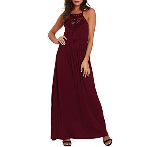 HULKY Damen Elegant Ärmellos Rundhals Vintage Spitzenkleid Sommer Loose Einfache Maxi Kleider Beiläufiges Langes Kleid Partykleid (rot,S)