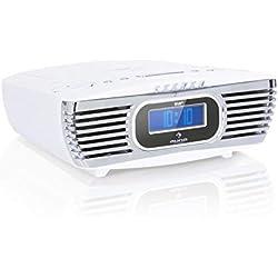 auna Dreamee Radio-réveil Dab+ avec Lecteur CD • Radio rétro • Radio numérique • Fonction Snooze • Dab+/FM • CD-R/RW/MP3 • AUX • Dual-Alarm • Timer • Blanc
