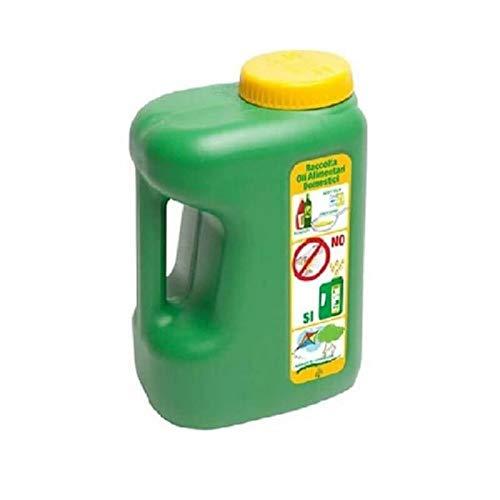 Tanica in plastica (HDPE) 5 Litri per recupero olio esausto, peso 290 g, colore verde/giallo. Tappo a vit