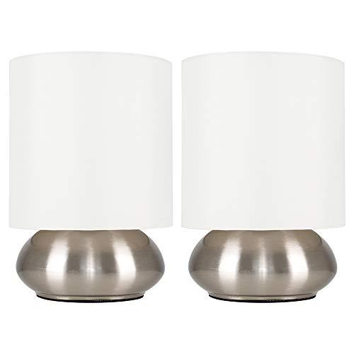 MiniSun - Set de dos modernas lámparas de mesa táctiles cromadas - pantallas de color crema