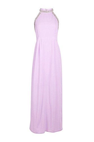 Lilas Hommes Petite Jenna Embellished Halter Maxi Robe Lilas