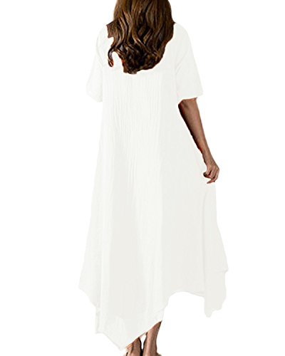 Auxo Vintage Femme Long Tunique en Vrac Solide Bal Cocktail Basic Maxi Irrégulier Swing Robe en Coton Blanc