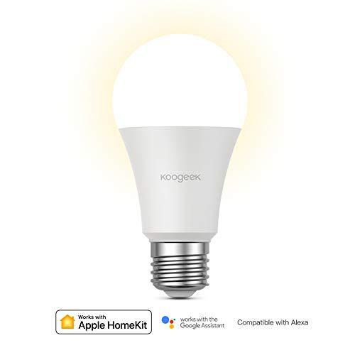 Koogeek Navidad E27 7W Regulable Wi-Fi Bombilla LED inteligente Compatible con Alexa Apple HomeKit y el Asistente de Google No se requiere un concentrador de voz Control remoto (Warm white bulb)