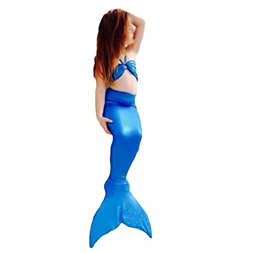 Lalang Mädchen Badeanzug Meerjungfrau-Schwanz, Bademode Bikini Set Kleinkind Bade Kostüm (130, Blau)
