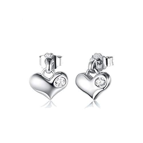 Pendiente de botón de plata de ley 925 para mujer, Precious Heart 2019  Trendy Fashion Gusto elegante Ear Studs Jewelry, Mejores regalos para ella,