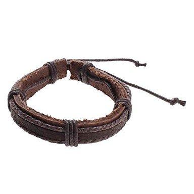 braccialetto intrecciato in pelle di mucca uomini , (Brown Bracciale In Pelle Intrecciato Il Braccialetto)