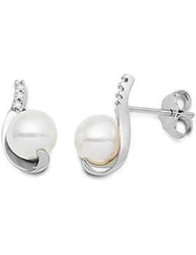 Miore Damen-Ohrringe 18 Karat (750) Weißgold Brillanten mit weiße Süßwasser-Zuchtperlen MG8022E