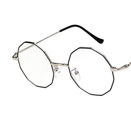 SUNNYJ Sonnenbrille Mode Damen Polygon Runde Rahmen Flugzeug Spiegel Damen Retro Transparent Brillengestell Ultraleichten Metall Brillengestell 3