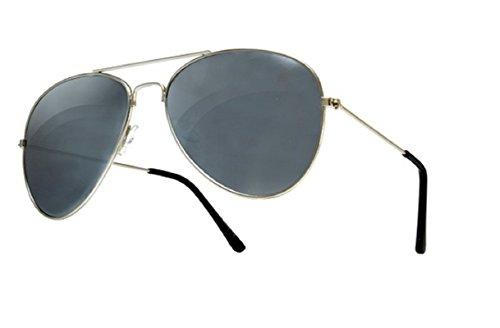Unisex, da uomo e da donna anni '70, Unisex, colore: argento a specchio, stile Aviator-Occhiali da sole protettivi UV400, taglia unica, lenti a specchio, solo dal 4sold Nero  aviator silver black