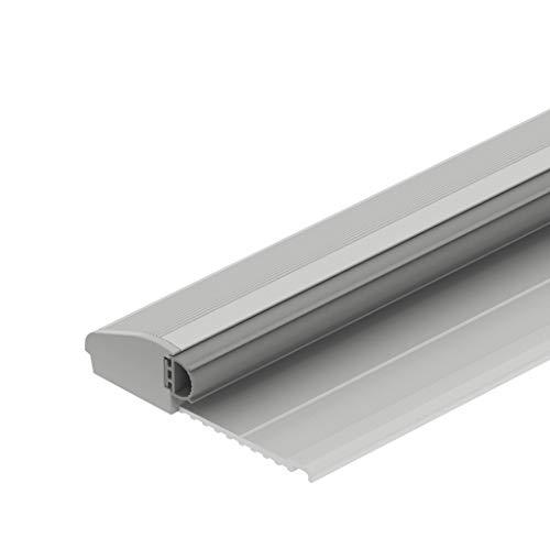 Gedotec Bodenschwelle Aluminium Türbodendichtung Übergangsprofil mit Anschlag | Türschwelle mit Dichtung | Länge 840 mm | Alu silber eloxiert | Baubeschläge | 1 Stück - Türdichtschiene mit Gummi