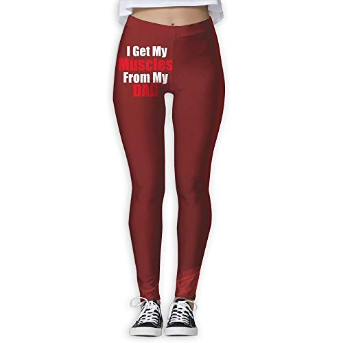 QIAOJIE Get My Muscles from Daddy Women's Full-Length Yoga Workout Leggings Thin Capris -