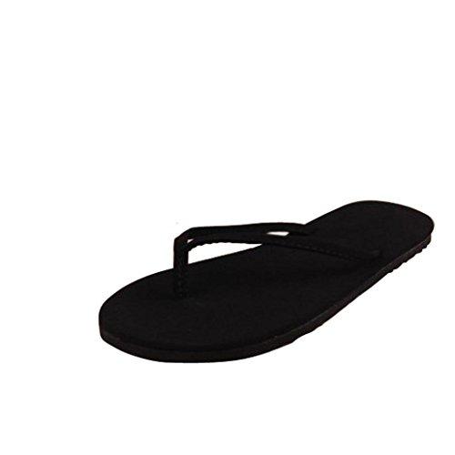 Tefamroe Frauen Sommer Flip Flops Schuhe Sandalen Slipper innen & Open-air-Flip Flops (39, Schwarz)