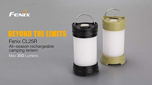 Noir : 2015 NEUF Fenix Cl25r Camping Lanterne 350 lumens 2 Couleur 6 Mode Base magnétique suspendre Camp lampe + 1 PC 2300 mAh 18650 Batterie Li-Ion