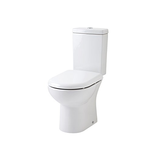 Bathroom Stylish Gloss White Toilet Pan Inc Cistern Short Projection WC Soft Close Seat