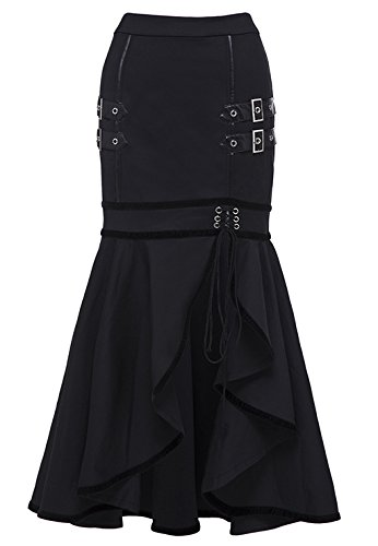 Kimring Women's Steampunk Vintage Gothic Victorian Split Pencil Mermaid Gypsy Hippie Party Skirt Black Small steampunk buy now online