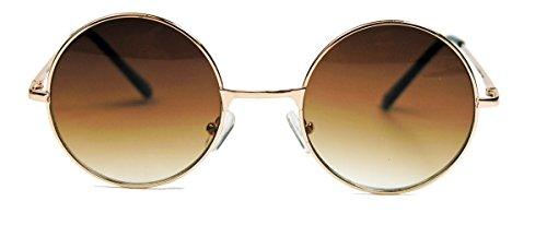 Retro Sonnenbrille Damen Herren Nickelbrille rund Lennon Style Metall Rahmen Farbwahl (Gold / Braun Farbverlauf)