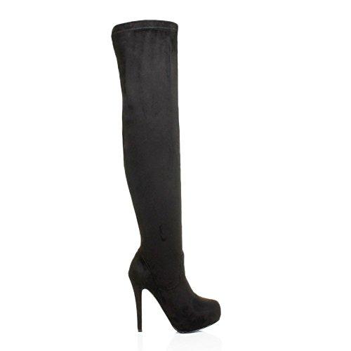 Damen Damen High Heel Oberschenkel Reißverschluss Stretch verdeckte Plattform über das Knie Stiefel Größe schwarze Velourslederoptik