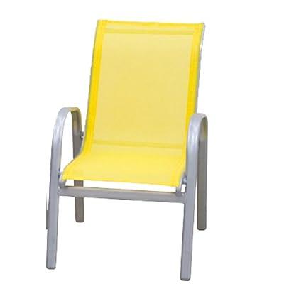 Siena Garden 616612 Kinder-Stapelsessel Lars, gelb silber mit Textilene gelb L 48 x B 38 x H 60 cm