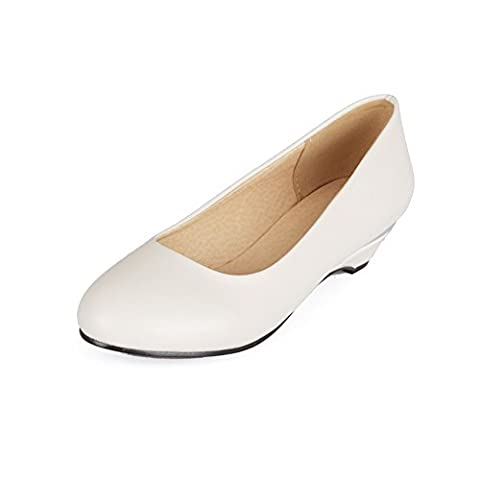 BalaMasa Ladies Wedges Low-Cut Uppers Pull-On White Urethane Pumps-Shoes - 2 UK
