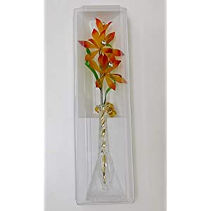 Glasblume tolle Blume aus Glas gelb-rot mit Vase Qualität