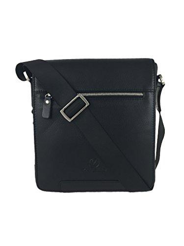Zavelio Kleine Umhängetasche / Schultertasche / Laptoptasche / Messenger Bag aus echtem Leder Braun