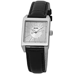 Hugo Boss Ladies Quartz Watch with Silver Dial Analogue Display and Black Leather Strap 1502237