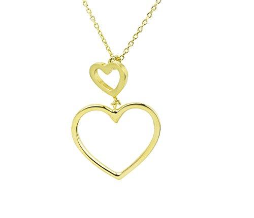 AKA Gioielli - Collana Donna con Ciondolo Doppio Cuore in Argento 925 Placcato Oro Giallo, Idea Regalo
