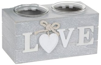 Provence Double Tealight Holders in Grey - Love or Home