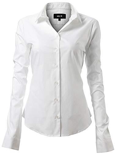 asic Hemd Workwear Slim Fit Langarm Baumwolle Einfarbig Plain Für Anzug Business Arbeit mit Brusttasche Bügelleicht/Bügelfrei - Weiß - 41 (Hersteller  12) ()