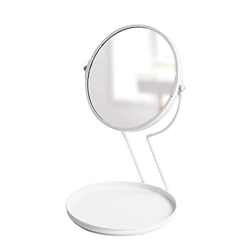 Makeup mirror Schminkspiegel_8-Zoll-Tabletop-Doppelseitiger Schwenk-Schminkspiegel Mit 5-Facher VergrößErung,11-Zoll-HöHe,Base Storage Schminkspiegel Anti-Fog (Weiß) -