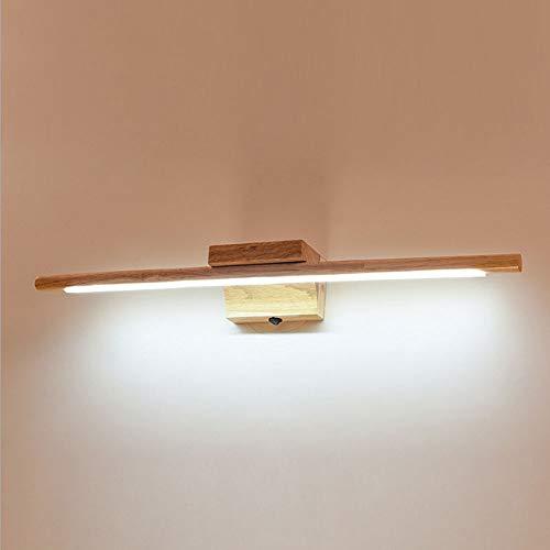 Alppq LED Tocador Cuarto de baño Aplique de pared Lámpara de pared nórdica Espejo de madera maciza...